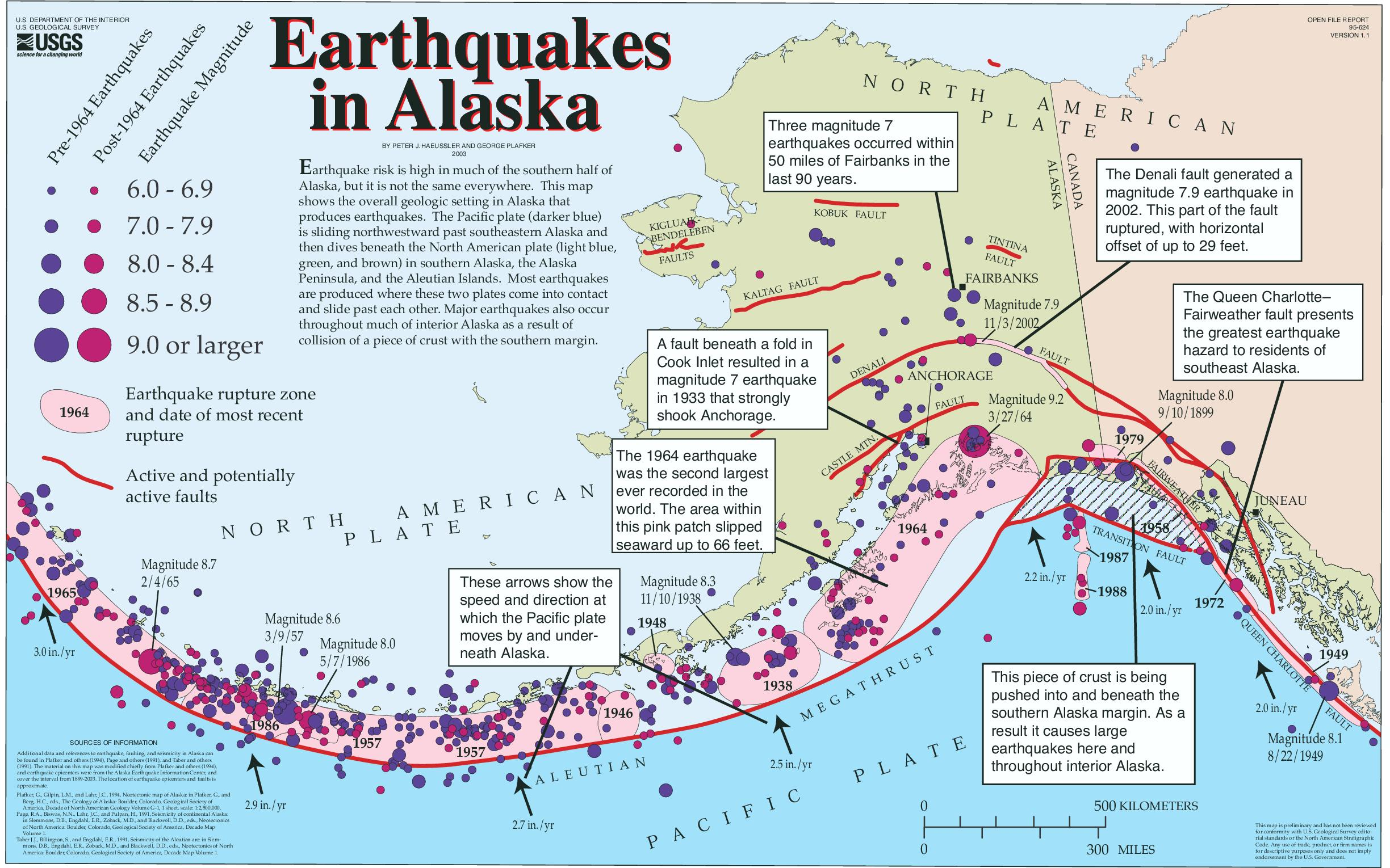 map of historic earthquakes active faults and rupture zones earthquakes in alaska